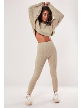 Petite Stone Co Ord Cable Knitted Leggings by Missguided