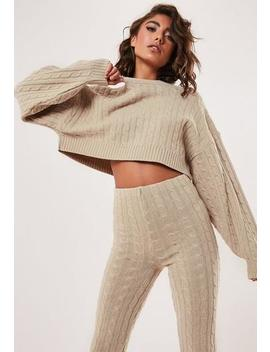 Petite Stone Co Ord Batwing Cropped Cable Jumper by Missguided
