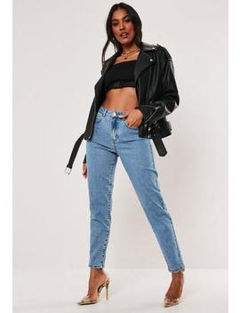 blue-high-waisted-comfort-stretch-denim-mom-jeans by missguided