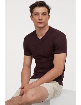T Shirt Muscle Fit Decote Em V by H&M