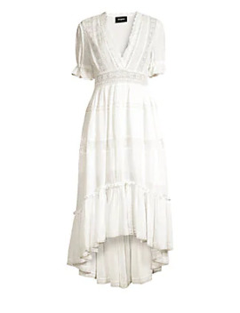 V Neck Lace Trim Midi Dress by The Kooples