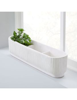 Fluted Windowsill Planter   White by West Elm