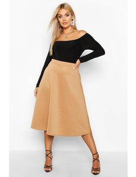 Plus Basic Plain Full Circle Midi Skater Skirt by Boohoo