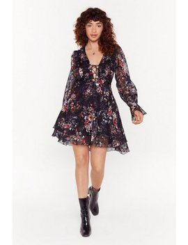 Lace Up Your Game Floral Mini Dress by Nasty Gal