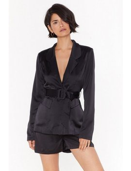 Step Into My Office Satin Belted Blazer by Nasty Gal