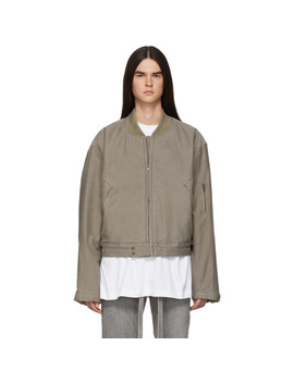 Grey Cotton Bomber Jacket by Fear Of God