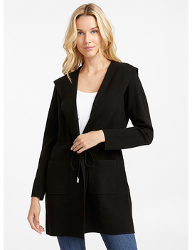 Drawcord Hooded Cardigan by Contemporaine