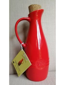 Le Creuset Olive Oil Jar New In Red With Cork Stopper & Tag. by Le Creuset