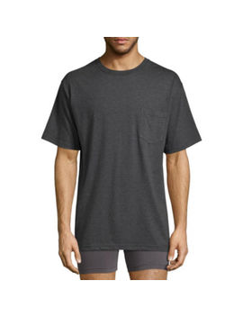 Stafford Performance Blended Cotton Heavyweight Crew Pocket Comfort Tee With Wicking by Stafford