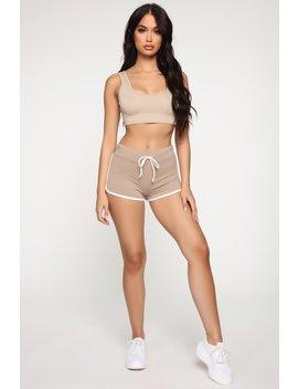 Emerson Dolphin Shorts   Taupe by Fashion Nova