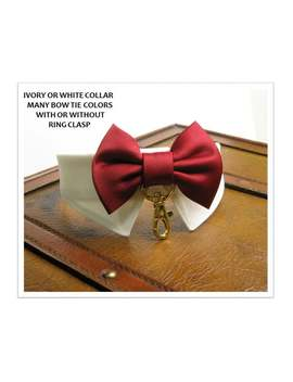 Ivory Dog Tuxedo Collar Burgundy Dog Bow Tie Collar&Amp;Ring Clasp Dog Ring Bearer Dog Wedding Attire Dog Wedding Bow Tie Dog Ring Holder Bow Tie by Etsy