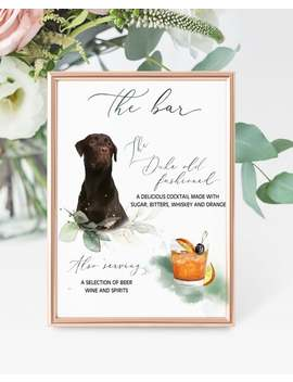 Custom Pet Signature Drink Sign Digital Download, Dog Cocktail Sign, Greenery Bar Menu Sign, Dog Wedding Sign, Custom Pet Cocktail Sign by Etsy