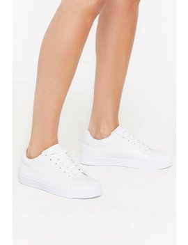 Pu Plain Lace Up Court Sneaker by Nasty Gal