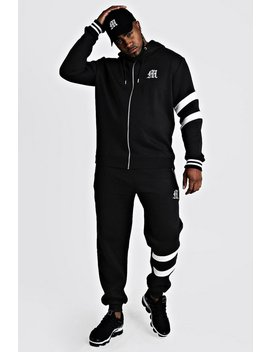 Big And Tall Tracksuit With Contrast Panels by Boohoo