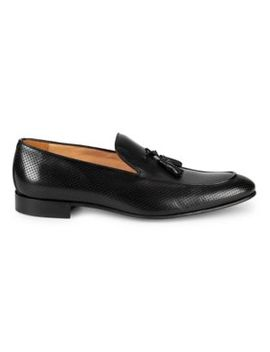 Perforated Leather Tassel Loafers by Saks Fifth Avenue Made In Italy