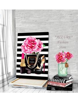 Chanel Wall Art Fashion Wall Art Canvas Wall Art Perfume Chanel Gabrielle Prints Chanel Fashion Illustration Chanel Canvas Chanel Prints by Etsy