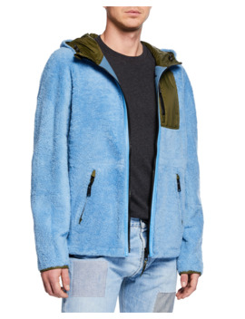 Men's Colorblock Fleece Zip Front Jacket by Yves Solomon