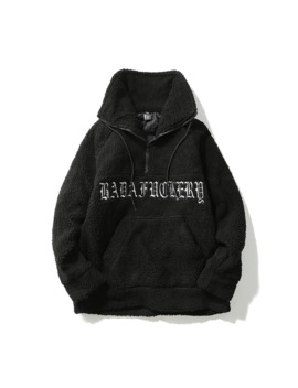 Harajuku Lamb Wool Turtle Neck Pullover Gothic Letter Embroidery Half Zip Sweatshirt Streetwear by Ali Express.Com