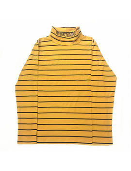 Lettering Embroidery Turtleneck Long Sleeved T Shirt Kpop Korean Styling Yellow Striped Long Sleeve Tee Streetwear by Ali Express.Com