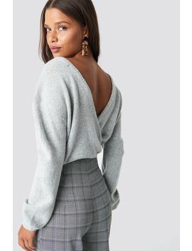 V Neck Back Overlap Knitted Sweater Grau by Na Kd