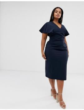 Asos Design Curve Angel Sleeve Midi Pencil Dress by Asos Design