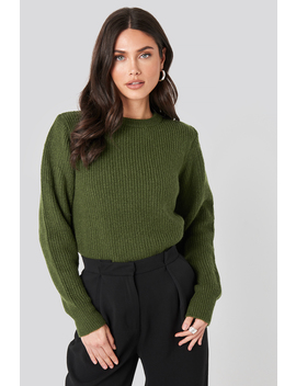 Crew Neck Knitted Sweater Grün by Na Kd