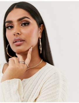 Asos Design Curve Pack Of 5 Rings In Engraved And Twist Designs In Silver Tone by Asos Design