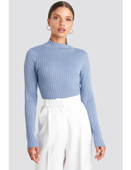 Ribbed Knitted Polo Sweater Blau by Na Kd