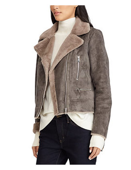 Asymmetrical Faux Shearling Moto Coat by General