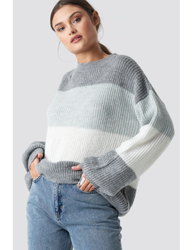 Color Striped Balloon Sleeve Knitted Sweater Grau by Na Kd