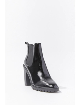 Faux Patent Leather Chelsea Boots by Forever 21