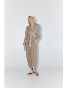 Belted Linen Blouse Topswoman by Zara