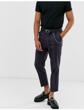 Asos Design Tapered Smart Pants In Navy And Bold Burgundy Stripe With Metal Pocket Chain by Asos Design