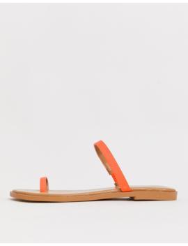 Asos Design Freedom Toe Loop Flat Sandals In Neon Orange by Asos Design
