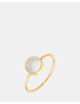 Ring Gemstone Moonstone 925 Sterling Silver Gold Plated by Elli Jewelry