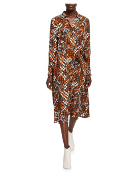 Relle Printed Long Sleeve Midi Shirtdress by Equipment