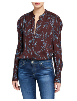 Garion Printed Button Down Blouse by Equipment