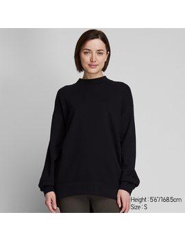 Women Long Sleeve Mock Neck Long Sweat Pullover by Uniqlo