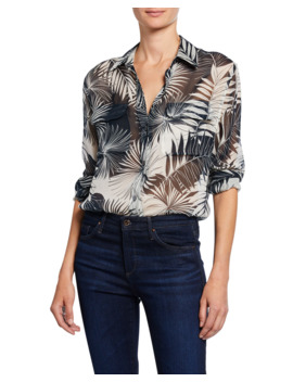 Signature Leaf Print Button Down Silk Shirt by Equipment