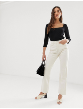 Whistles Square Neck Ribbed Long Sleeve Top by Whistles