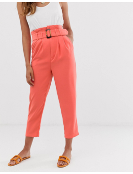 Stradivarius Belted Tailored Pants In Coral by Stradivarius