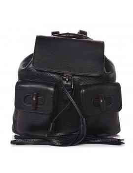 Gucci Calfskin Bamboo Medium Backpack Black by Gucci