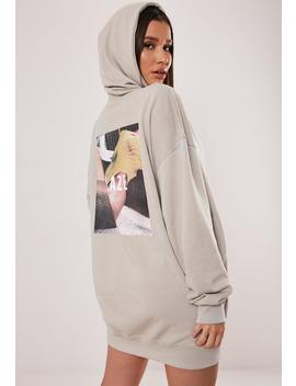 Stone Oversized Graphic Back Hooded Sweatshirt Dress by Missguided