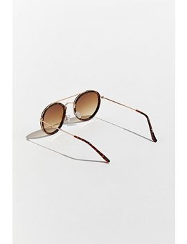 Metal Brow Bar Round Sunglasses by Urban Outfitters