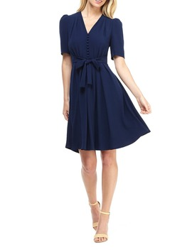 Bella Button Front Fit & Flare Dress by Gal Meets Glam Collection