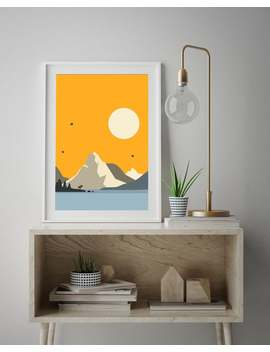 Nordic Nature Minimalist, Deer Mountain Nordic, Scandi Scenery, Landscape North Poster, Hot Summer Abstract, Nordic Nature Warm Tones by Etsy