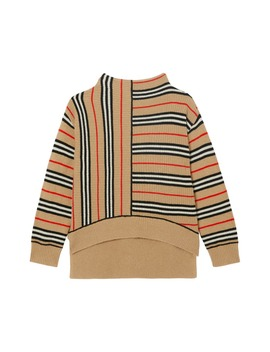 Bianca Stripe Funnel Neck Sweater by Burberry
