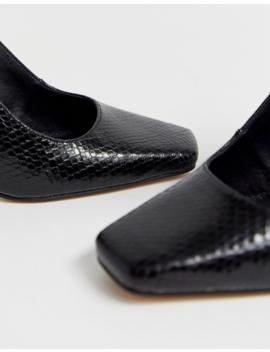 Asos Design Priceless Square Toe Stiletto Heels In Black Snake by Asos Design