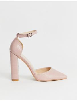 Public Desire Sofia Blush Croc Block Heeled Shoes by Public Desire
