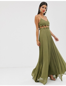 Asos Design Tall Maxi Dress With Crinkle Chiffon With Cross Neck Detail by Asos Design